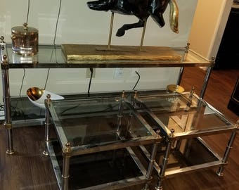 Breathtakingly Beautiful Rare Hollywood Regency Maison Jansen Style Chrome/Gold Glass Sofa Table End Tables 1970s