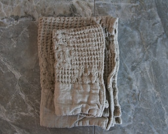 Rustic Un-dyed Waffle Hand Towels/Guest Towels - Natural Flax