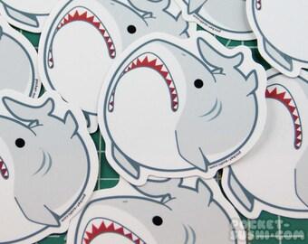 Derpy Great White Shark Vinyl Sticker