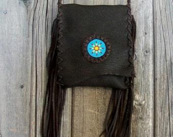 Fringed leather crossbody handbag , Simple brown leather phone bag , Fringed waist bag , Leather handbag