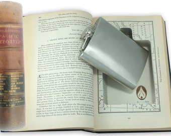 SneakyBooks Recycled Hollow Law LEATHER BOUND Book Hidden Flask Diversion Safe (Flask Included) by Greenfire Products
