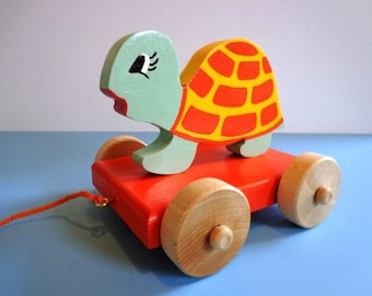 Wooden Turtle Pull Toy - Hand Made - Hand Painted - Brightly Colored - Eco Friendly Kids Toy - Toddler Approved