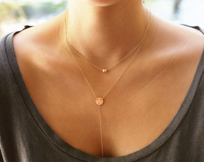 Gold ball and lariat  Combo - Layering Set of 2 necklaces        ES011