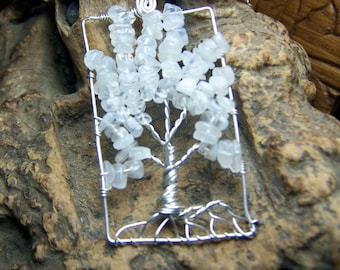 Rainbow Moonstone Tree of Life necklace pendant, Sterling Silver, Rectangle or Circle, Great substitute for Opal june Birthday Birthstone