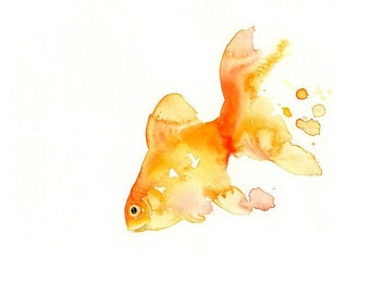 GOLDFISH -10x8inch print-Art Print-animal Watercolor Print-Nursery art-wall decor