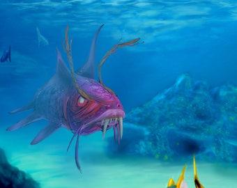 Fantasy Fish, Digital Art, Illustration