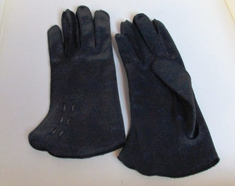Vintage Black Gloves with Cut-Outs