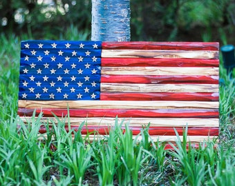 Custom Rustic Flags - hand made, hand carved, made in the USA, gift, promotion, graduation, office, home, Father's Day, holiday gift idea