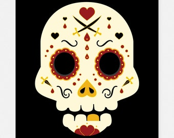Day of the Dead Sugar Skull: Black Pirate 11x14 Art Print by Odds And Aliens