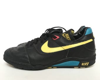 Vintage 1980s 90s Nike Air Black Stitched Leather Athletic Sneakers 890305 CH3 - Mens 8.5