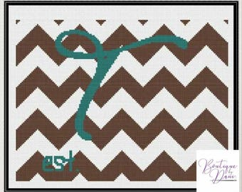 Monogram Chevron T Cross Stitch Pattern Personalized