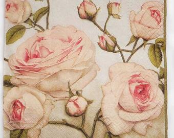 4 Decoupage Paper Napkins | Pastel Roses | Rose Napkins | Floral Napkins | Mothers Day Napkins | Paper Napkins for Decoupage