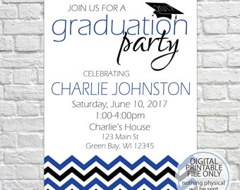 Graduation Open House Invitation, Class of 2018, Graduation Announcement, Chevron Invitation, Graduation Party, High School, College, Blue