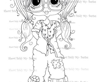 INSTANT DOWNLOAD Digital Digi Stamps Big Eye Big Head Dolls Messy Bessy IMG860 My Besties By Sherri Baldy