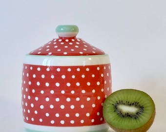 Red with white dots ceramic box