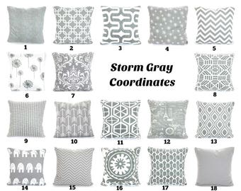 Gray Pillow Covers Decorative Throw Pillows Cushions Storm Grey White Couch Bed Sofa Pillows Euro Sham One or More Mix & Match ALL SIZES