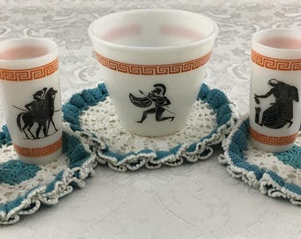 Vintage Hazel Atlas Milk Glass Grecian Ice Bucket & 4 Tumblers Greek Key Warrior
