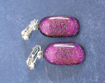 Clip On Earrings, Dichroic Pink, Dangle, Non Pierced Earrings, Womens Jewelry - Cotton Candy - 2314 -4