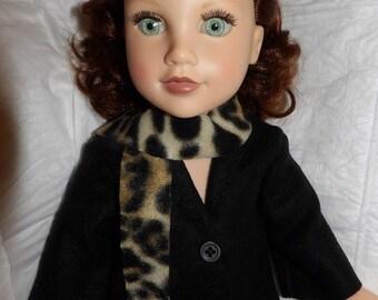 Solid black Fleece coat & print scarf for 18 inch dolls - ag315