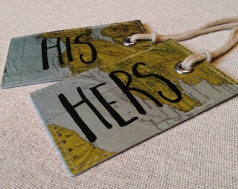 His & Hers set of luggage tags made with original maps