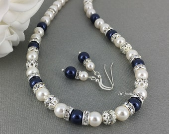 Bridesmaid Gift Pearl Jewelry Swarovski Necklace Navy and White Swarovski Necklace Bridal Party Jewelry Gift for Her Mother of Bride Jewelry