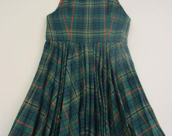 vintage girls green wool plaid pleated jumper dress tartan romper vintage plaid dress vintage jumper for girls kids vintage holiday dress