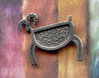 Pin: Small pewter Petroglyph sheep clutch pin