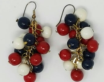 1960s Patriotic Chandelier Earrings - Red, Blue and White Earrings -Independence Day - 4th of July - Nautical Drop Earrings - Memorial Day