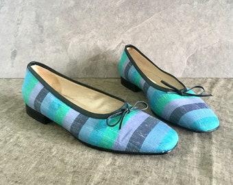 90's Talbots Blue Green Striped Flats / Vtg Ballet Flats / Women's 7M