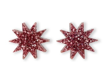 Star Glitter Pink Earrings - Glitter Basics Starburst Sun Retro Peach Rose Tiny Studs Post Small Sparkle Perspex Acrylic