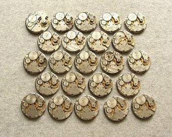 "1"" Set of 23 watch movements, Small Watch Movements, Steampunk Supplies, Watch Movements for Parts, Antique Watch Parts, Flea Market Finds"