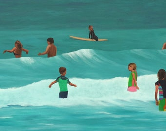 Swimming & Surfing, Original Figurative Beach Painting. Coastal Decor
