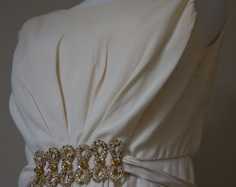 Wedding dress with jeweled waist by Emma Domb