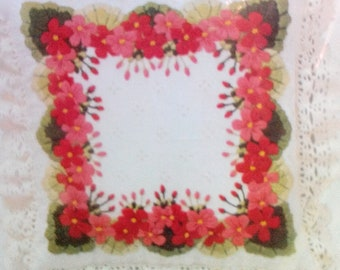 Kit-Pillow, Geranium Garland, #7909, Crewel, 14 x 14 inches, with Lace Trim, by Columbia-Minerva, 1978, Vintage
