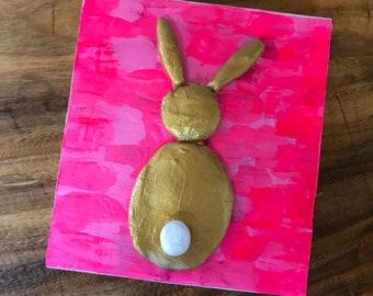 4.75x5.5 Bunny Painting on Wood Block