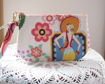"Rare ""Ranchera"" Wristlet, Mexican Folk Art Clutch,  Art Deco Purse"