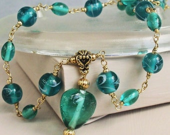 Green Glass Necklace Heart Wirewrapped Necklace Pendant Necklace Teal Heart of Glass Pendant