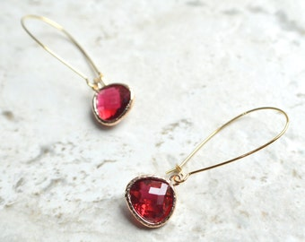 Mimi - Red Gold Crystal Bridesmaid Statement Earrings