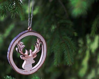 Wood Christmas gift, Set of 5, Christmas ornament, Rustic Christmas tree decorations, Wood antlers, First Christmas, Christmas decor