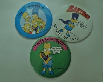 Simpsons Vintage Giant Inch Pinback Buttons. Set of 3