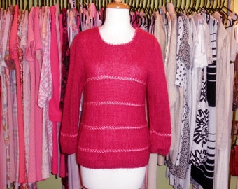 70's fluffy fuchsia striped sweater 1970's hand knit softest wool cashmere satin net stripe sweater hot pink / groovy / loose crew neck / M