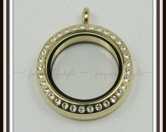 25mm Floating Locket / Glass Locket / Memory Locket Pendant Stainless Steel Gold With Crystals