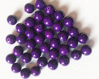 10mm Dark Purple Jade Smooth Round Beads