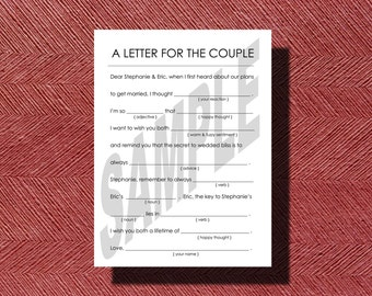 Simple Wedding Mad Lib A Fun Guest Book Alternative- Advice for the happy coulple