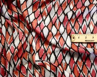 "Gray And Orange Diamond Print Rayon Fabric 58"" Wide Per Yard"