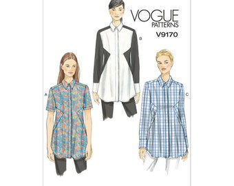Vogue V9170 Size 6-14 or 14-22 Misses' Inset-Seam Tunics Sewing Pattern / UNCUT Factory Folded