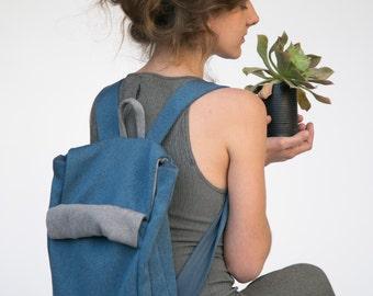 Blue Backpack, Blue Laptop Backpack, Men Backpack, Canvas Backpack, Geometric Backpack, School Backpack, College Backpack, Fabric backpack