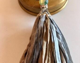 Sari Silk Tassel-Light Blue, Olive & Gray Tassel-Boho Tassel Necklace