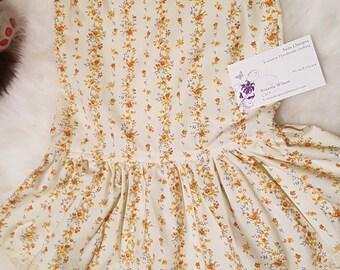 Cream floral print cotton dress size 2