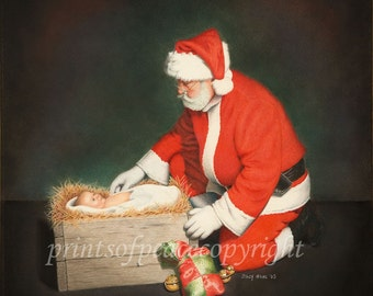 SANTA with CHRIST CHILD- 11 x 14 print-  Free Shipping this Week